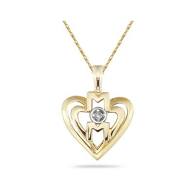 Diamond and Heart MOM Pendant 14K Yellow Gold