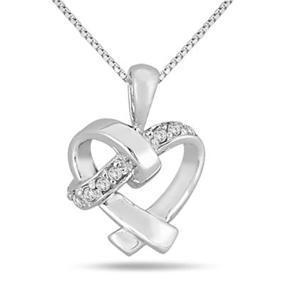 Diamond Heart Knot Pendant 10k White Gold