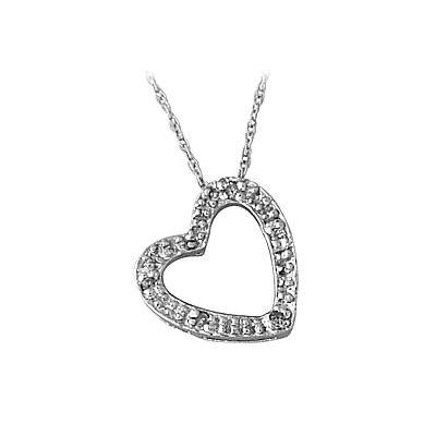 White Gold Diamond Heart Pendant in 10kt