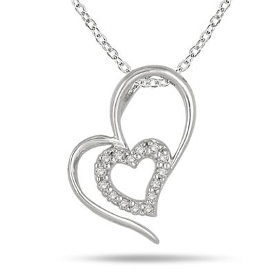 1/10 Carat Diamond Double Heart Pendant in .925 Sterling Silver