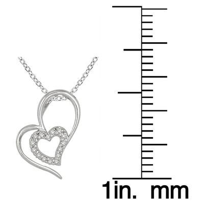1/10 Carat Diamond Double Heart Pendant in .925 Sterling Silver
