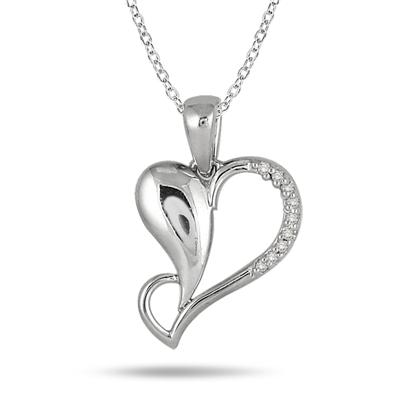 Diamond Heart Pendant in .925 Sterling Silver