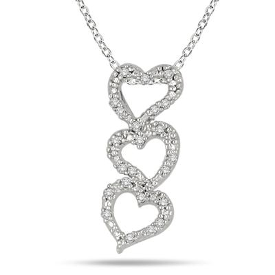 1/8 Carat Diamond Heart Pendant in .925 Sterling Silver