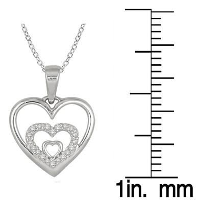 1/10 Carat Diamond Triple Heart Pendant in .925 Sterling Silver