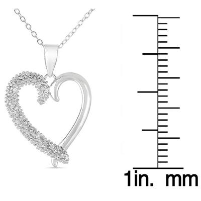 1/10 Carat T.W Diamond Heart pave Pendant in .925 Sterling Silver