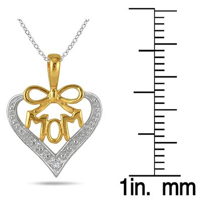 18K Gold Plated Diamond Mom Heart Pendant in .925 Sterling Silver