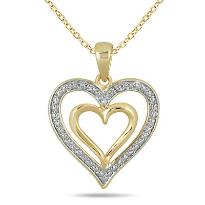 Diamond Double Heart Pendant in 18K Gold Plated Sterling Silver