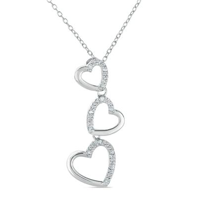 1/10 Carat Diamond Heart Link Pendant in .925 Sterling Silver