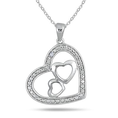 Diamond Triple Heart Pendant in .925 Sterling Silver