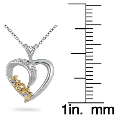 18k Gold Diamond Heart MOM Pendant in .925 Sterling Silver
