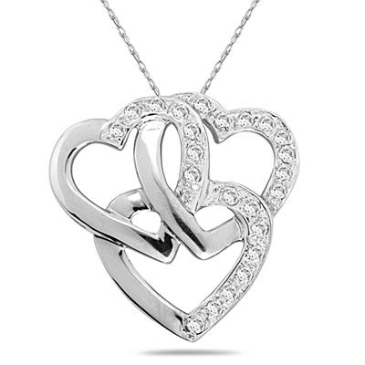 1/3 Carat Triple Heart Diamond Bouquet Pendant in 10K White Gold