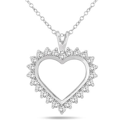 1.00 Carat Diamond Heart Pendant in 10K White Gold