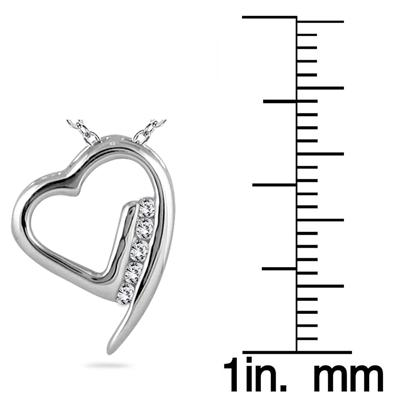 1/10 Carat Diamond Heart Pendant in 14K White Gold