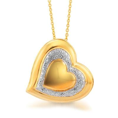 18K Gold Plated Diamond Heart Pendant in Brass