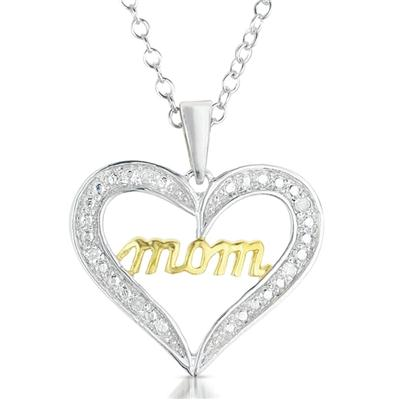 Diamond Mom Heart Pendant in 18K Plated .925 Sterling Silver