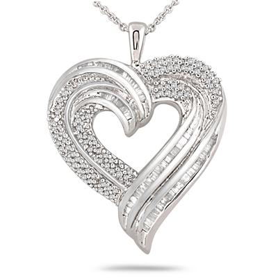 1 Carat Round and Baguette Diamond Heart Pendant in .925 Sterling Silver