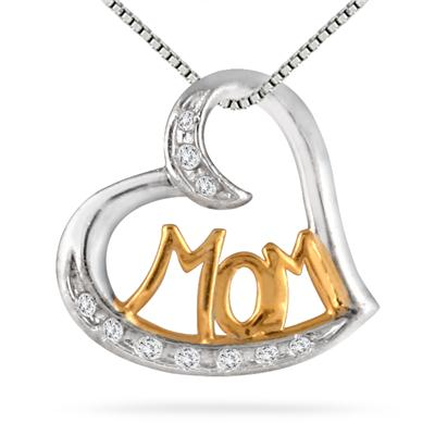 1/10 Carat MOM Diamond Heart Pendant in 18K Gold Plated .925 Sterling Silver