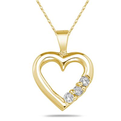 Three Stone Diamond Heart Pendant in 10K Yellow Gold