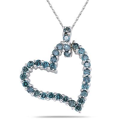 Blue Diamond Heart Pendant in 14K White Gold