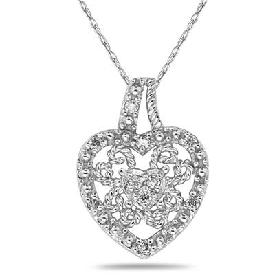 Diamond Heart Antique Pendant in White Gold