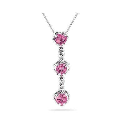 .60ctw Three  Pink  Topaz  Hearts and Diamonds Drop Pendant in White Gold