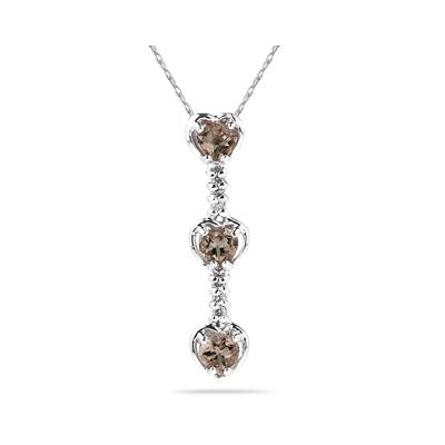 .60ctw Three  Smokey Quartz   Hearts and Diamonds Drop Pendant in White Gold