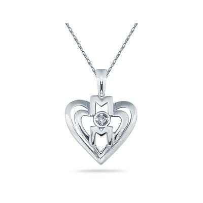 Diamond and Heart MOM Pendant 14K White  Gold