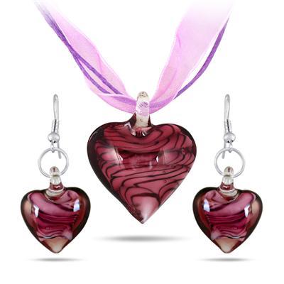 Hand-Blown Artisan Glass Purple Heart Pendant and Earring Set