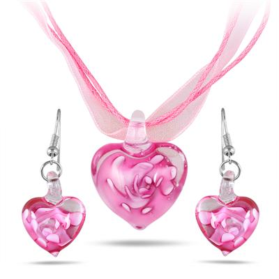 Hand-Blown Artisan Glass Heart Pendant and Earring Set