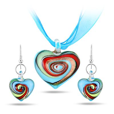 Hand-Blown Artisan Glass Blue Swirl Heart Pendant and Earring Set