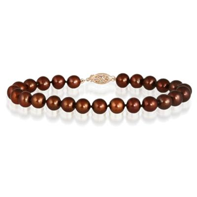 All Natural Freshwater Brown Cultured Pearl Bracelet with 14K Yellow Gold Clasp