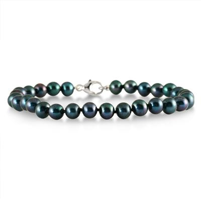 5.5-6 MM Black Freshwater Cultured Pearl Bracelet in .925 Sterling Silver