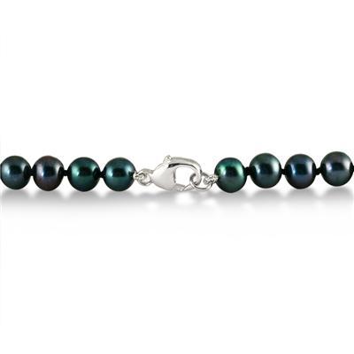 5.5-6 MM Black Freshwater Cultured Pearl Bracelet in .925 Sterling Silver