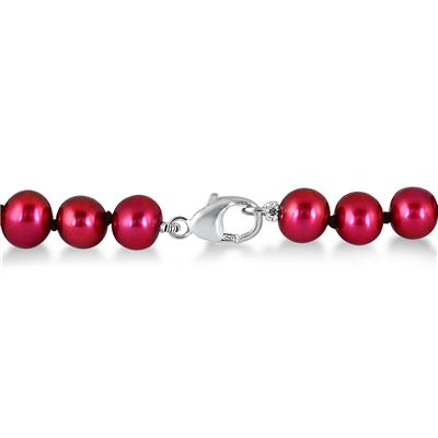 6.5-mm Natural Freshwater Cranberry Cultured Pearl Bracelet in .925 Sterling Silver