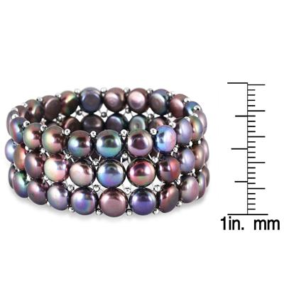 9-9.5MM Natural Freshwater Black Cultured Pearl Stretch Bracelet