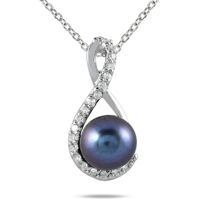 1/10 Carat Natural Freshwater Black Pearl and Diamond Pendant in 10K White Gold