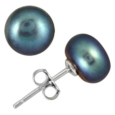 8-8.5mm All Natural Freshwater Black Pearl Stud Earrings in .925 Sterling Silver