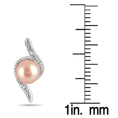 6mm All Natural Freshwater Pink Cultured Pearl Earrings in .925 Sterling Silver