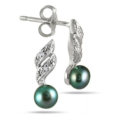 5-5.5 mm Freshwater Black Cultured Pearl and Diamond Earrings in .925 Sterling Silver