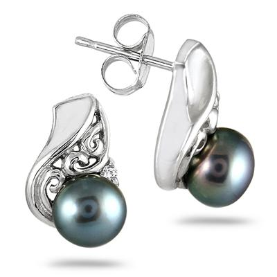 5mm Freshwater Black Cultured Pearl and Diamond Earrings in .925 Sterling Silver