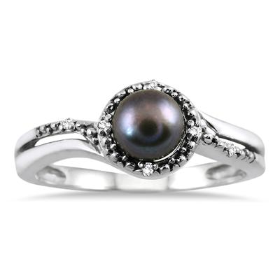 6mm All Natural Freshwater Black Pearl and Diamond Ring in .925 Sterling Silver