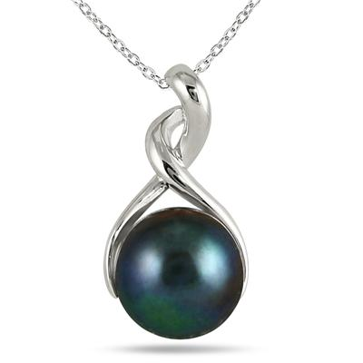 11mm Freshwater Black Cultured Pearl Twist Pendant in .925 Sterling Silver