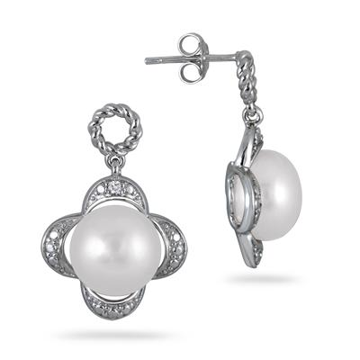 10-10.5mm Freshwater White Cultured Pearl and Diamond Earrings in .925 Sterling Silver