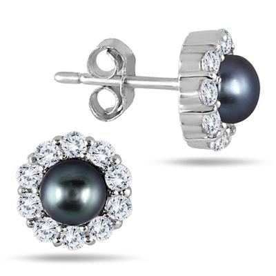 5mm Freshwater Black Cultured Pearl and Genuine White Topaz Earrings in .925 Sterling Silver