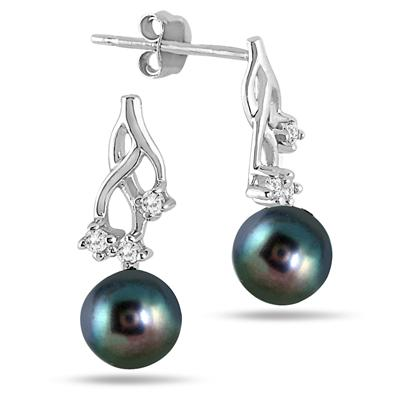 6mm Freshwater Black Cultured Pearl and Diamond Earrings in .925 Sterling Silver