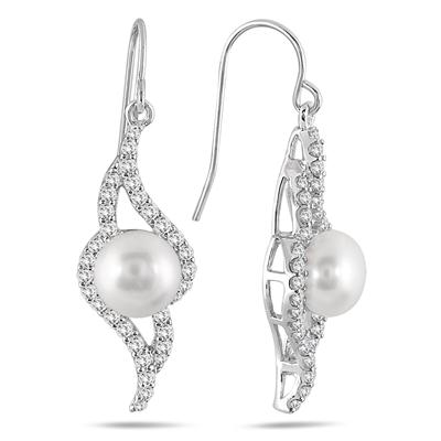 6.40 Carat White Topaz and Freshwater Pearl Drop Earrings in .925 Sterling Silver