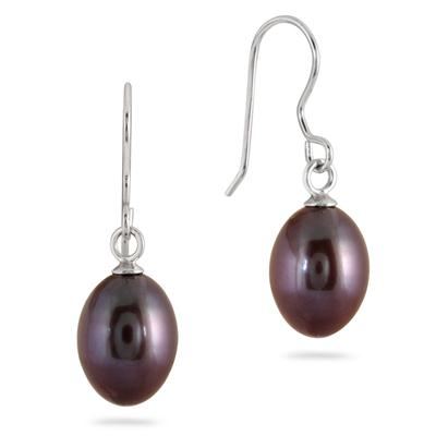 Natural Freshwater Black Pearl Drop Earrings in .925 Sterling Silver