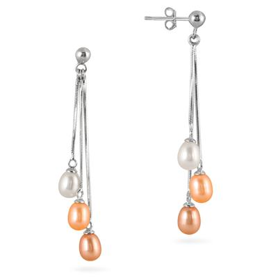 Multicolor All Natural Freshwater Cultured Pearl Drop Earrings in .925 Sterling Silver