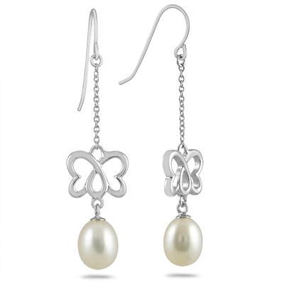 8-8.5 MM Freshwater Cultured Pearl Earrings in .925 Sterling Silver