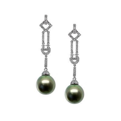 Natural Tahitian Drop Pearl & Diamond Earrings in 18kt White Gold